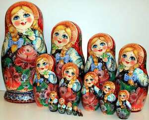 NEW NESTING DOLL HAND PAINTED FLORAL ART SET WOOD 15 DOLLS