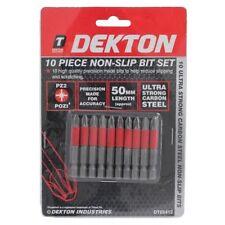 NEW  Dekton 10pc Pozi 2 PZ2 X 50mm Screwdriver Bits Non Slip Bit Set DT65412NEW