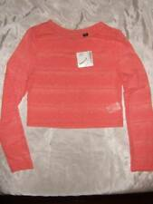 NWT ~ JOE BOXER coral long sleeve lace crop top ~ juniors XL