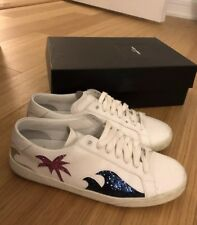 Saint Laurent White Multi Color Leather Glitter Accent Sneakers Size 38 8