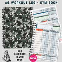 Workout log book, A6 gym diary, exercise, cardio/weight training/lifting journal