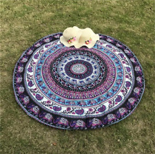 Purple & White Elephant Print Mandala Tapestry Throw Beach Blanket Boho Bohemian
