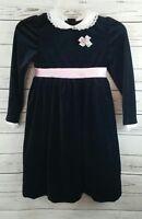 Little Bitty Black Velveteen Long Sleeved Holiday Dress Girl's Size 6x