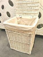 New Shabby Chic White Wicker Laundry Basket Rattan Storage Vintage Lid Lining