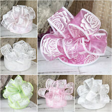 Wired Ribbon Organza Sparkle Flowers Glitter Daisy Rose Wedding White Pink Cream