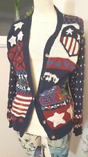 Signature by Northern Isles Hand Knitted Wool Cardigan Patriotic, 'Home'  Sz. PM
