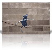 Wall26 - Canvas Print - Rat balancing on tight rope chain - Street Art - 24 x 36