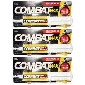 Combat MAX 3-PACK ROACH KILLING GEL SYRINGE KILLS THE NEST LARGE SMALL ROACHES