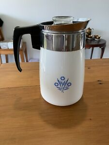 Vintage Corning Ware Cornflower Coffee Pot - Blue & White 6 cup