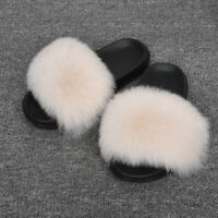 Real Big Fur Slippers Women Summer Sliders Furry Slides Flats Fluffy Shoes 6044