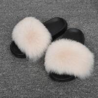 Real Big Fur Slippers Women Summer Sliders Furry Slides Flats Fluffy Shoes 56044