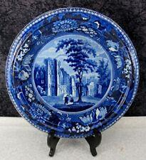 Antique Staffordshire Jedburgh Abbey Roxburghshire Blue Transferware Bowl