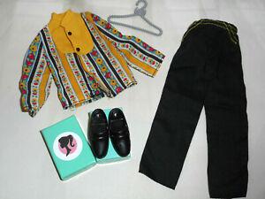 Vintage Barbie KEN HTF BEST BUY #2239 YELLOW BLACK MOD PRINT SHIRT PANTS + SHOES
