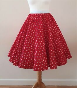 1950s Circle Skirt Red White Anchor All Sizes - Nautical Sailor Rockabilly PinUp