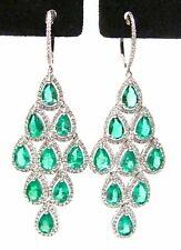 Fine PEAR EMERALD GEM DIAMOND CHANDELIER EARRINGS 14kt W/G
