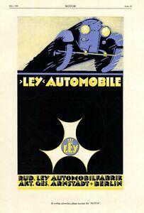 Ley Automobile Arnstadt XL Reklame 1925 von Schweikert Berlin Reklame Auto