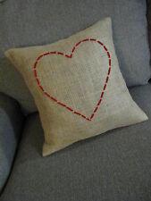 16x16 Burlap Red Heart Throw Pillow Cushion Jute Cover Country Decor Handmade