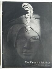 1948 Van Cleef & Arpels Diamond jewelry on Turban hat vintage original ad