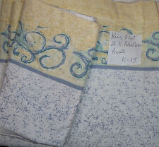 Vintage King Flat Sheet & 2 Pillow cases Floral Percale  Yellow Blue   K-13