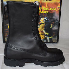 "Thorogood Hellfire 10"" Fire Fighting Black Leather Boots UK7.5 Biker Firefighter"