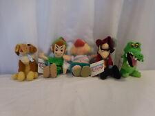 Disney Beanies Peter Pan, Croc, Capt Hook, Smee, Nana Bean Bags  Complete Set