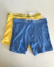 Calvin Klein Breathable Cotton Mesh Boxer Briefs - 2 Pairs - Blue / Yellow - S