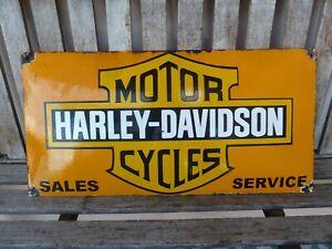 """HARLEY 24"""" porcelain sign collectible vintage logo old garage logo service USA"""