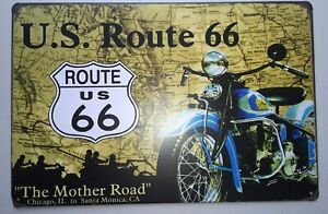 Route 66 The Mother Road Auto11'' by 8'' Metal Man Cave Sign