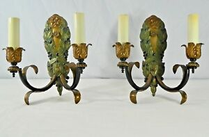 """PAIR of Italian CAST SOLID BRASS DOUBLE ARM ELECTRIC CANDLE Sconces. 12""""H. 1950"""