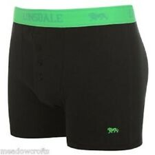 2 PACK LONSDALE BOYS BOXER TRUNKS AGE 7-8  BLACK FLUO GREEN ELASTICATED WAIST