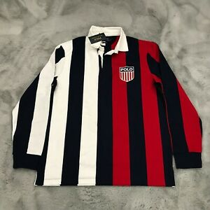 New Polo Ralph Lauren USA Patch Long Sleeve Striped Rugby Shirt Mens Large