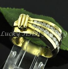 0.75 14k Solid Yellow Gold ladies Natural Diamond Ring Channel Set Unique style