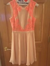 Ted Baker Pink Chiffon Dress With Floral Applique Size 1 new