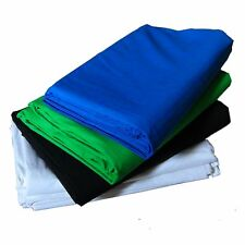 Set 4x Fond Tissu Studio Photo Video DynaSun Blanc Noir Bleu Vert 2,8x4mt Coton