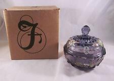 Fenton Powder Puff Box Grape Amethyst Anniversary Covered Bowl Signed P. Fleak