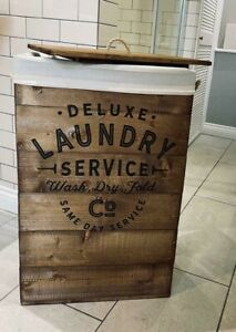 Rustic Wooden Laundry Crate with liner / Washing Basket - Free Postage