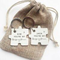 Missing Piece Pair of Personalised Keyrings, His & Hers, Mr & Mrs Gift Xmas