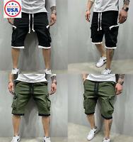 Mens Casual Zipper Pocket Shorts Sport Active Gym Pants Workout Fitness Joggers