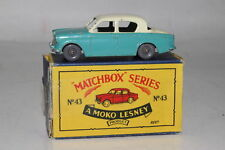 MATCHBOX LESNEY #43A HILLMAN MINX, BLUE & GREY, GPW, ORIGINAL, BOXED TYPE B