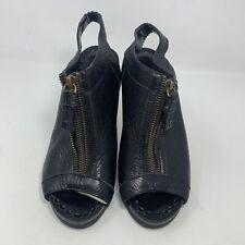 Womens Juicy Couture Black Leather Peep Toe Zipper Heels Size 6.5 M Sling Back