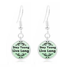 Stay Young glass Frea Earrings Art Photo Tibet silver Earring Jewelry #402