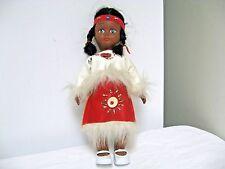 "Older 11 1/2"" Southwestern Style  DOLL-Faux Fur/Leather Look Ethnic Dress"