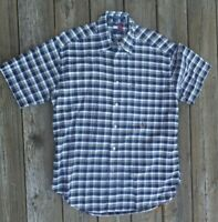 Tommy Hilfiger Men short sleeve button down shirt size M, EUC, Sharp Navy