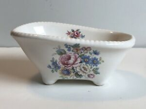 VB Athena Calif Pottery claw foot Bathtub soap trinket dish floral porcelain