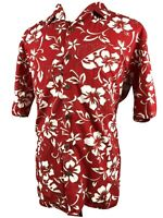 Hilo Hattie Hawaiian Shirt Large Button Front Aloha Flowers Red White Hawaii