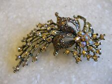 """3"""" Gold Tone Pin Brooch Rhinestones Amber & AB / Do Not Recognize Maker Initials"""