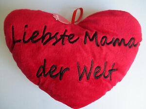 Plüschherz, Herzkissen, Liebste Mama der Welt, Plüsch, Muttertag ? !!!