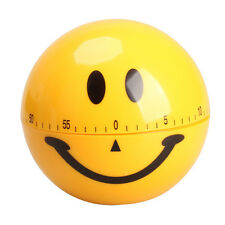 New Cute Mechanical Smiley Face Kitchen Cooking Timer Alarm 60 Minutes Yellow