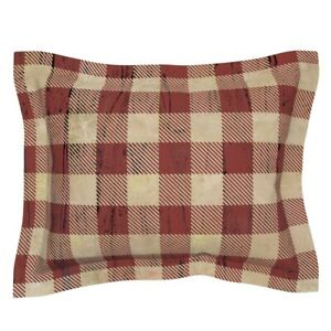Rustic Plaid Red And Tan Checked Earthy Buffalo Mountain Pillow Sham by Roostery