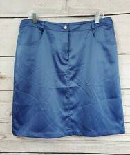August Silk Logic Blue Silky Straight Mini Skirt Womens 14